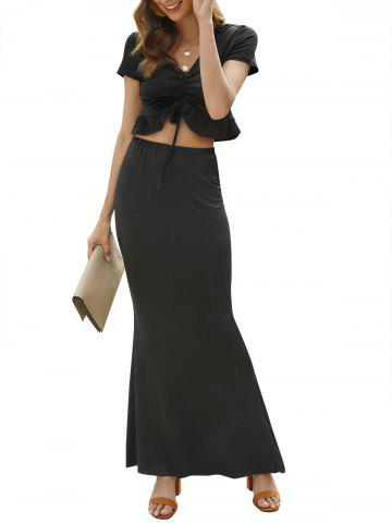 V Neck Cinched Crop Top and Maxi Skirt - BLACK - XL