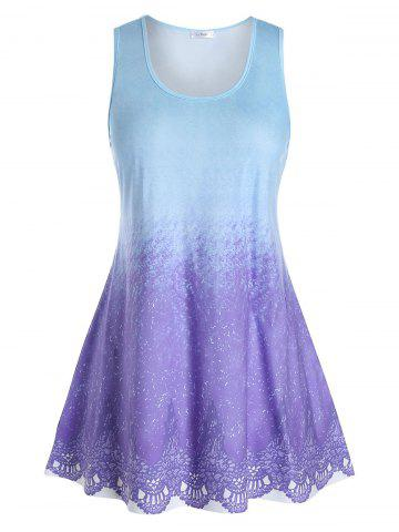 Plus Size Tie Dye Pattern Tunic Tank Top - SKY BLUE - 3X