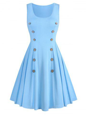 Robe Ligne A Simple sans Manches avec Bouton - LIGHT BLUE - M