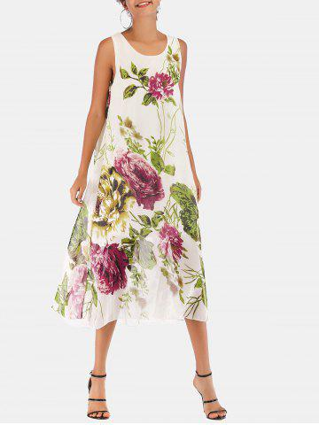 Chiffon Flower Print Casual Midi Dress
