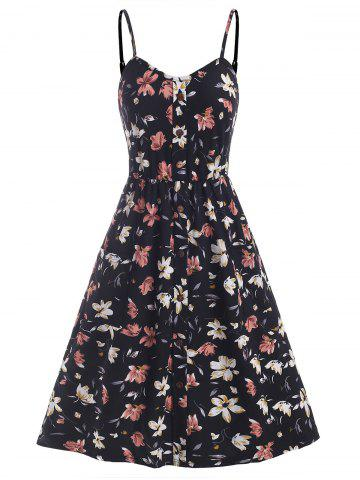 Floral Print Button Embellished Shirred Back Dress