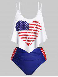 Overlay Flounces Ruched Heart American Flag Plus Size Tankini Swimwear -