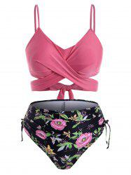 Plus Size Crossover Plant Print Cinched Ruched Bikini Swimsuit -