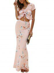 V Neck Cinched Crop Top and Maxi Skirt -