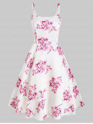 High Waisted Floral Print Sleeveless Dress -