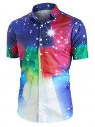 Colorful Gradient Spotty Button Up Shirt -