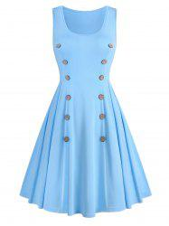 Plain Mock Button Sleeveless A Line Dress -