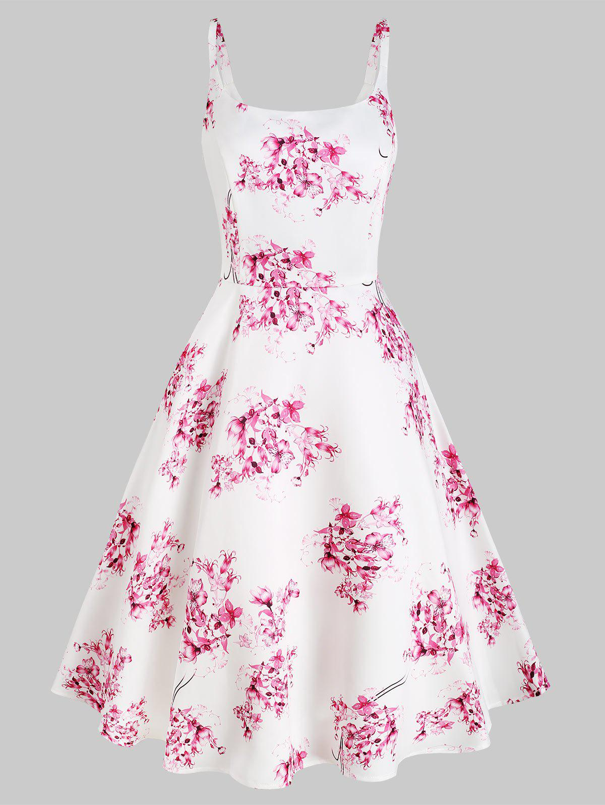 Outfit High Waisted Floral Print Sleeveless Dress