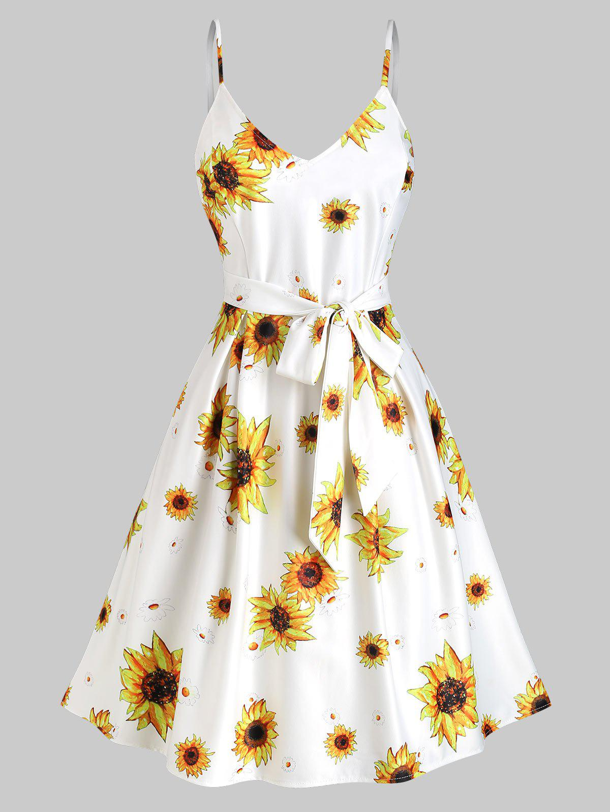 Buy Sunflower Print Belted Sleeveless Vacation Dress