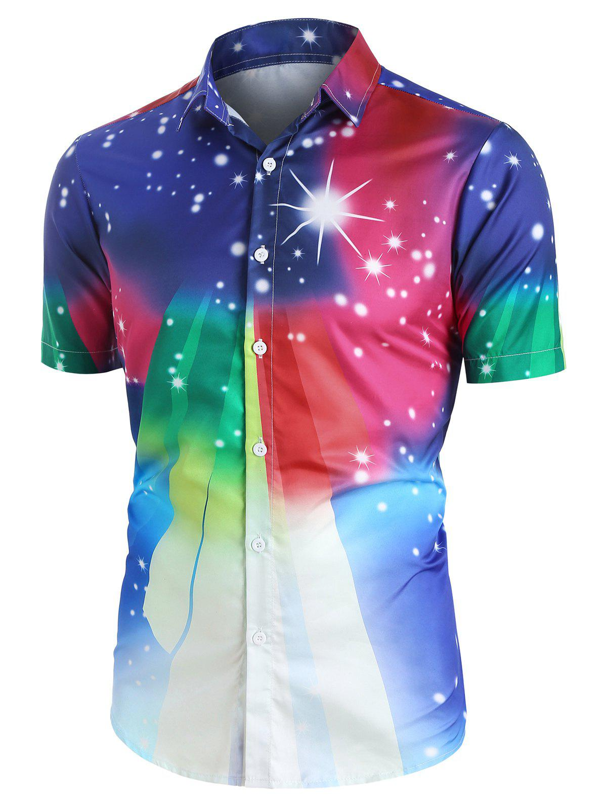 Fancy Colorful Gradient Spotty Button Up Shirt