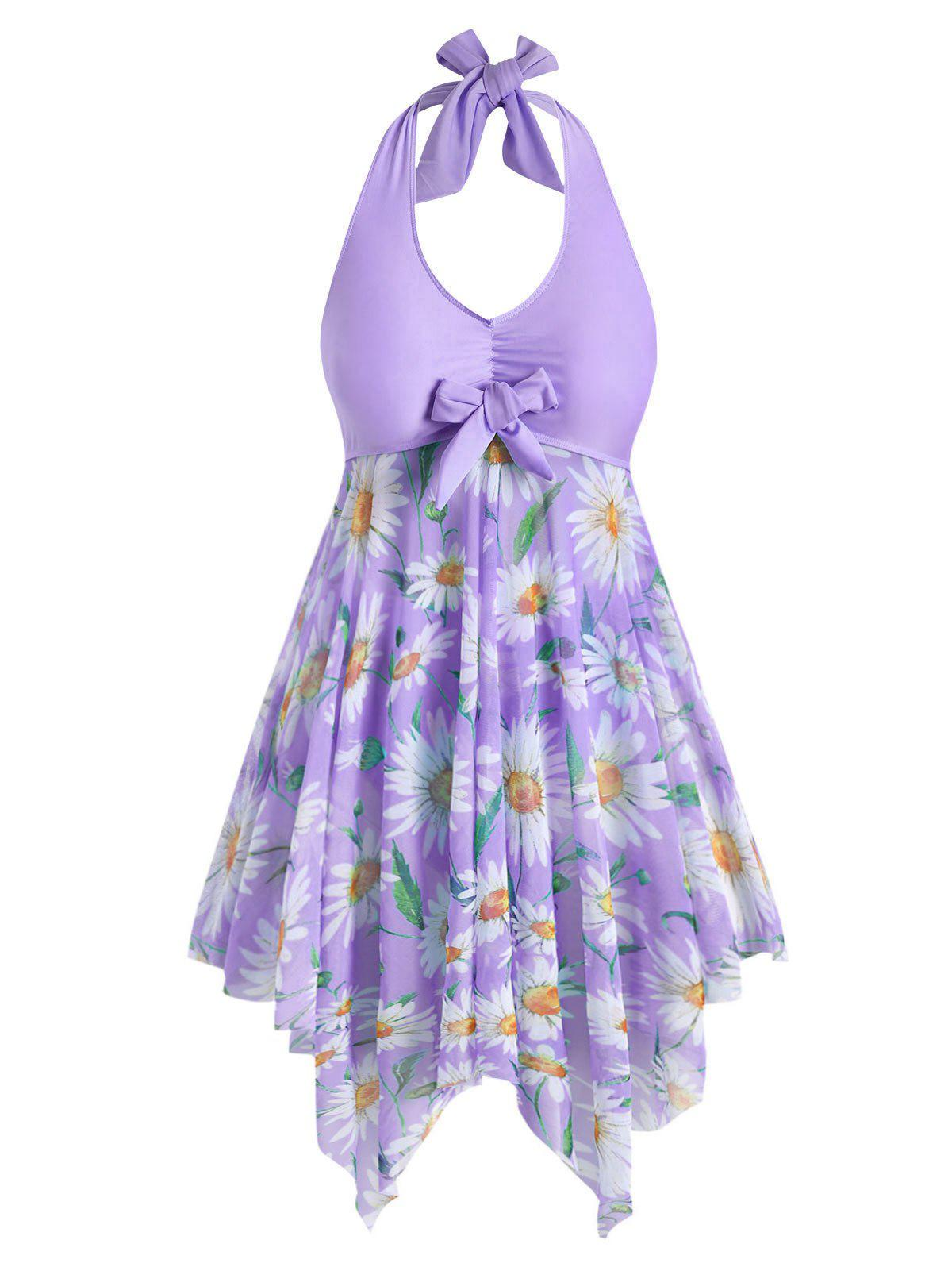 Plus Size Sunflower Print Backless Handkerchief Tankini Swimsuit Rosegal