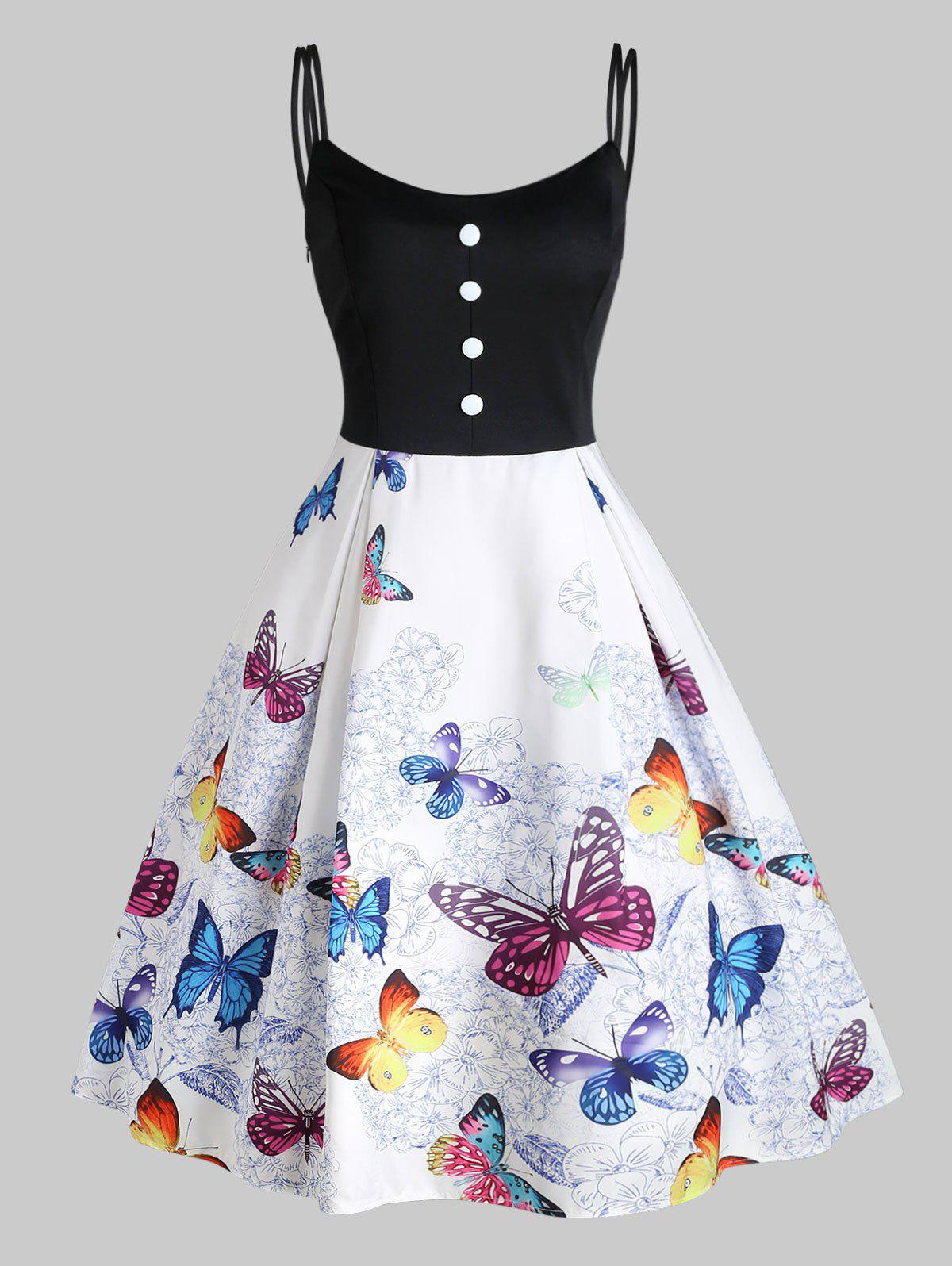 Chic Flower Butterfly Print Button Embellished Dual Straps Dress