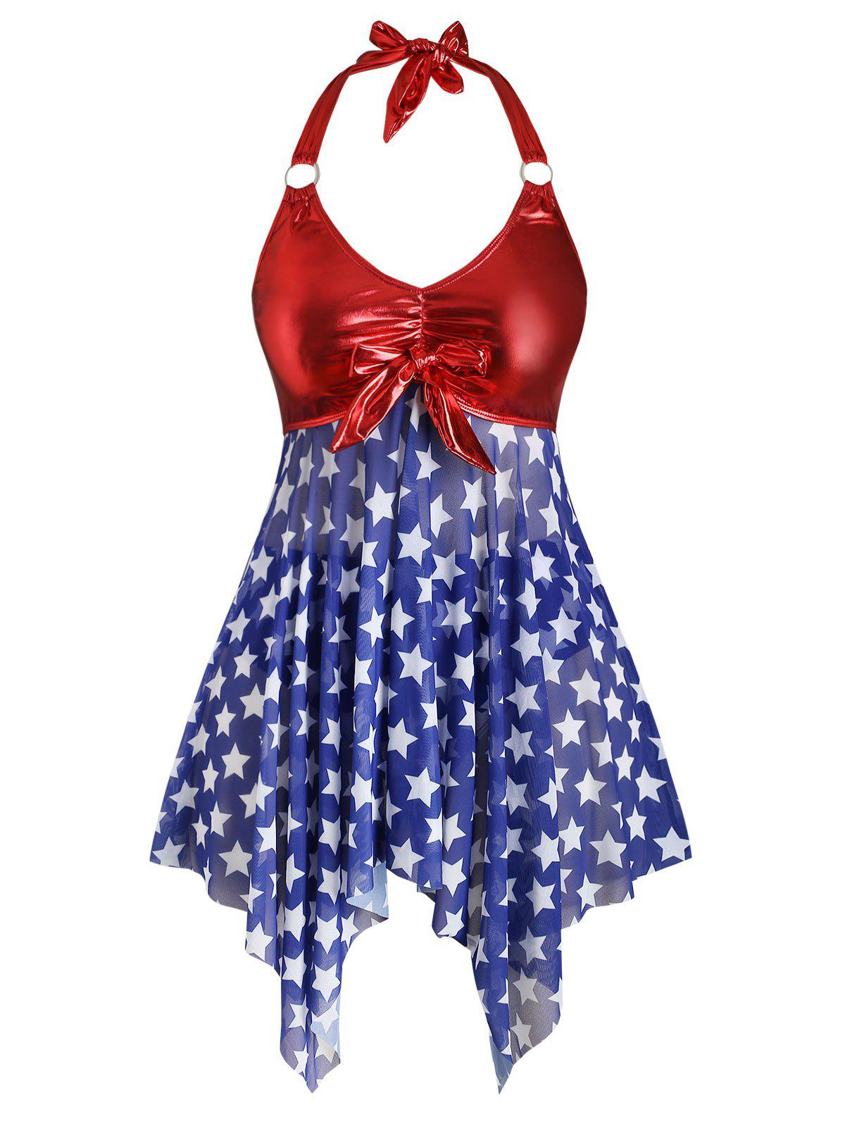Outfit Plus Size Halter Handkerchief American Flag Print Tankini Swimwear