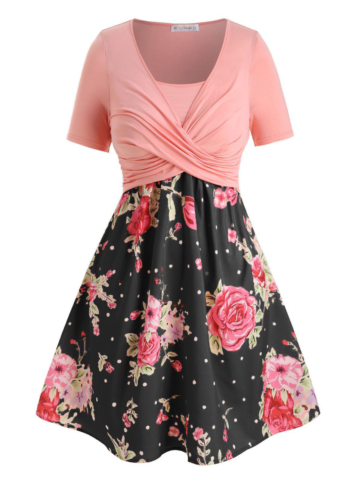 Affordable Plus Size Floral Print Crossover A Line Dress