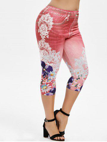 Plus Size 3D Denim Print Floral Capri Leggings - VALENTINE RED - 4X