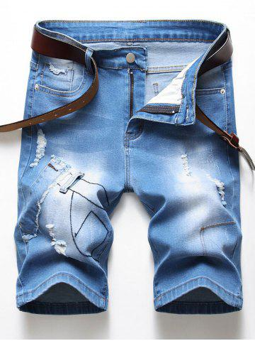 Ripped Patchworks Design Denim Shorts