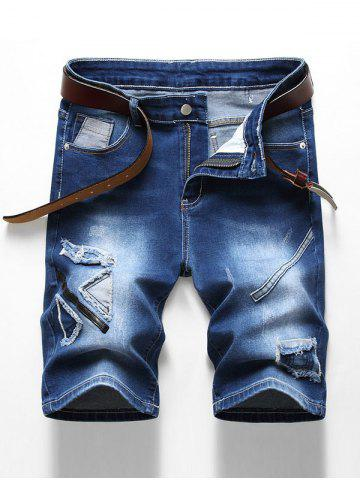 Shorts de Denim Desgastados con Cremallera - DENIM DARK BLUE - 36