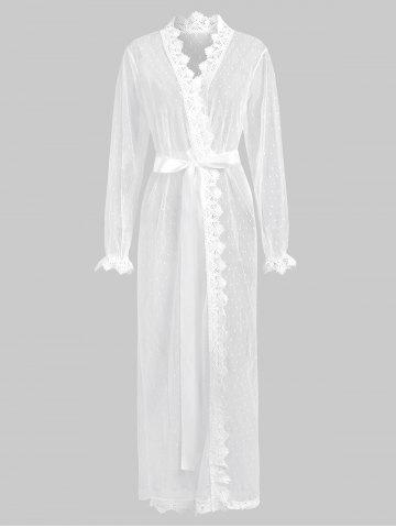 Mesh See Thru Crochet Trim Long Wrap Robe