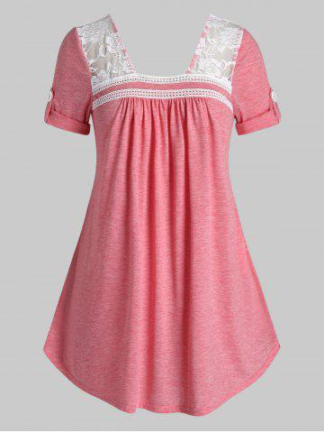 Plus Size Roll Up Sleeve Lace Insert T Shirt - LIGHT CORAL - 2X