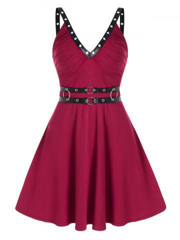 Sleeveless O-ring Faux Leather Strap Dress