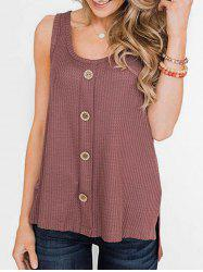 Textured High Low Slit Buttoned Tank Top -