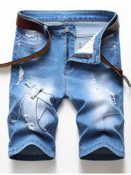 Ripped Patchworks Design Denim Shorts -