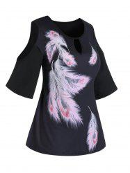 Plus Size Feather Print Cold Shoulder Keyhole Tee -