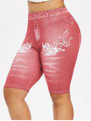 Plus Size 3D Butterfly Denim Print Biker High Rise Jeggings -