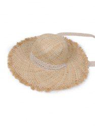 Lace Tape Raw Edge Straw Hat -
