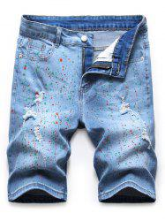 Pigmented Dot Printed Denim Shorts -
