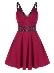 Sleeveless O-ring Faux Leather Strap Dress -