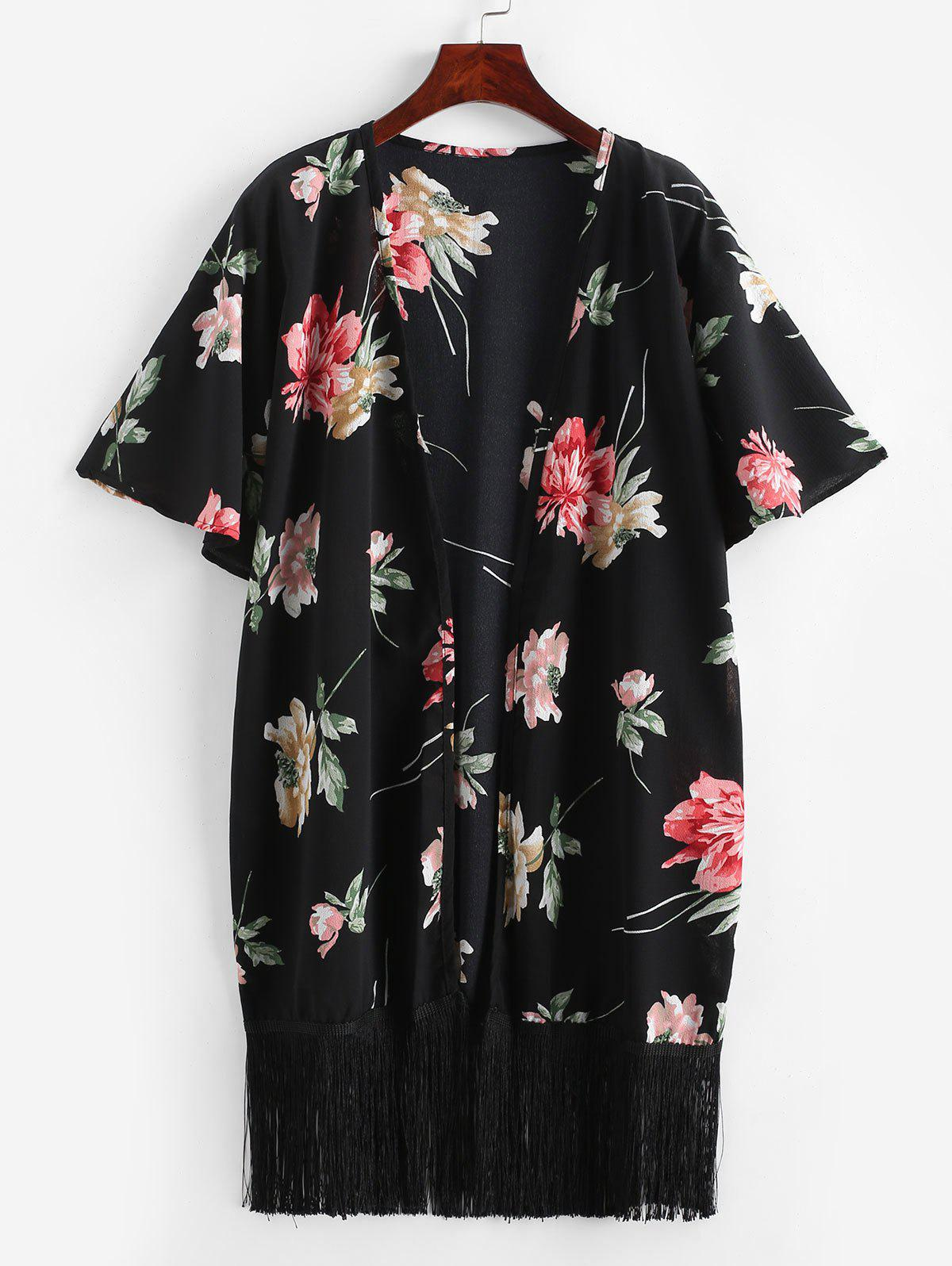 Floral Fringed Textured Kimono фото
