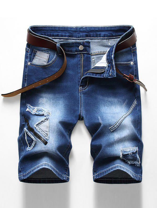 Discount Patchworks Decorated Zip Fly Denim Shorts