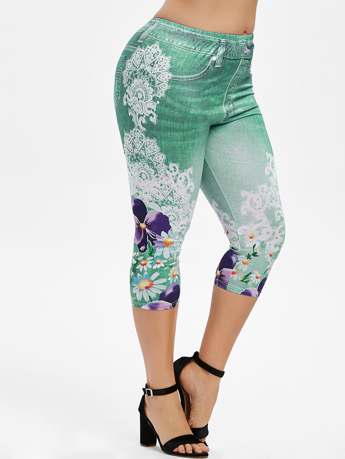 Plus Size 3D Denim Print Floral Capri Leggings Rosegal