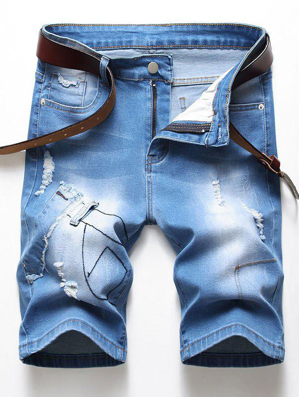 Latest Ripped Patchworks Design Denim Shorts