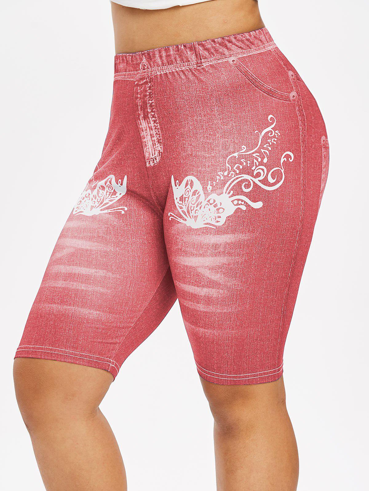 Hot Plus Size 3D Butterfly Denim Print Biker High Rise Jeggings