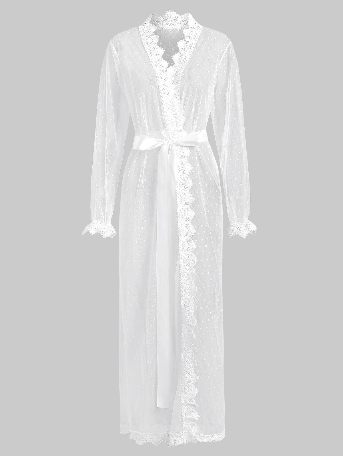 Online Mesh See Thru Crochet Trim Long Wrap Robe