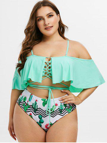 Plus Size Ruffled Cactus Print Lace Up Two Piece Swimsuit