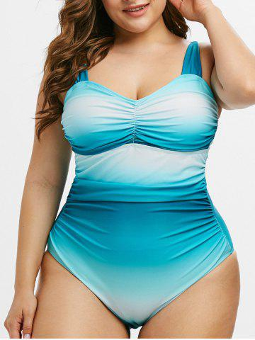 Plus Size Ruched Ombre Color One-piece Swimsuit - MACAW BLUE GREEN - 2X