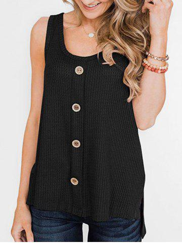 Textured High Low Slit Buttoned Tank Top - BLACK - S