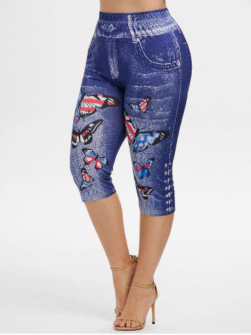 Plus Size American Flag Butterfly Print Capri Jeggings - BLUE - 2X