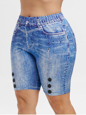 High Waisted 3D Printed Knee Length Plus Size Jeggings - BLUE - L