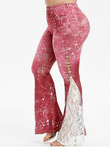 Plus Size Paint Lace Insert 3D Bell Bottom Leggings - VALENTINE RED - 4X