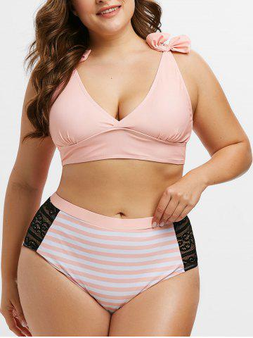 Plus Size Bowknot Lace Panel Striped Tankini Set - PINK - L