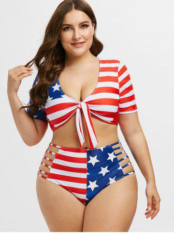 Knotted Laddering Cutout American Flag Plus Size Two Piece Swimwear