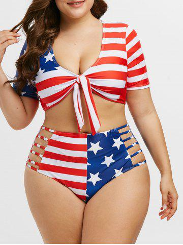 Knotted Laddering Cutout American Flag Plus Size Two Piece Swimwear - RED - 5X