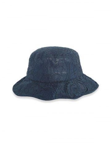 Lace Solid Breathable Bucket Hat - BLACK