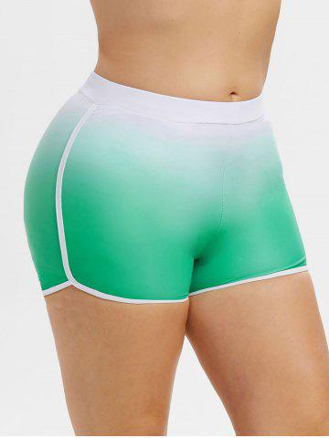 Contrast Piping Ombre Plus Size Swim Boyshorts