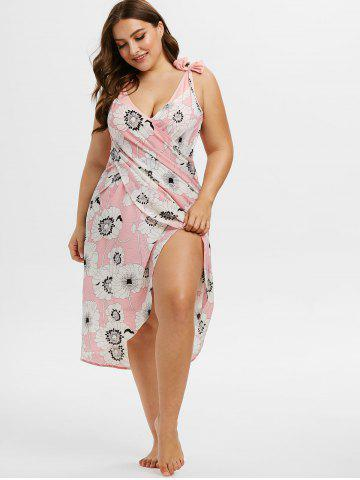 Plus Size Floral Print Cami Wrap Cover Up