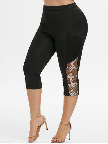 Plus Size Lace Mesh Panel Pocket Capri Leggings